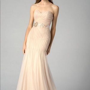 BHLDN Blush Ruched Gown with Sequin Belt NWT